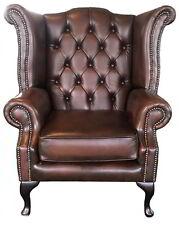 Fauteuil Chesterfield Queen Anne 100% Cuir Véritable Brun Antique