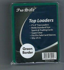 (100) Pro Safe Green Border Card Topload Card Holder  & 100 Sleeves