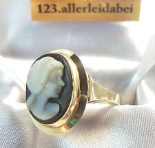 Alter Gemme Ring 585 er Gold Kamee Cameo Fingerring / Art. SS 689