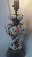 Vtg GORGEOUS  ITALY HAND PAINTED 3-way GWTW table LAMP PINK ROSES style