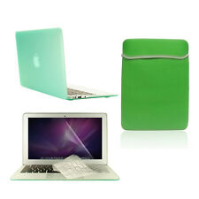 """4 in1  Rubberized GREEN Case for Macbook Air 11"""" + Key Cover + LCD Screen+ Bag"""