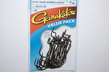 gamakatsu 2/0 offset shank worm round bend bass hook  54112-25 value pack