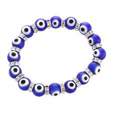 "CS 5x Round Evil Eye Lampwork Rhinestone Crystal Bracelet 0.39"" Q9m9"