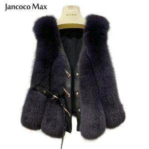 2021 Women Real Fur Vest Winter Fashion Gilet Sheepskin Leather Waistcoat 33506