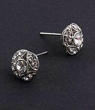 Clear Rhinestone Earrings - Silvertone - Studs