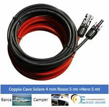 Coppia Cavo Solare 5mt Rosso + 5 mt Nero 4mm   Fotovoltaico Camper Nautica B...