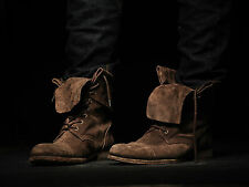 All Saints Brown Suede Leather Military Fold Boots, Mens Size Eu43 Us 10 (26)