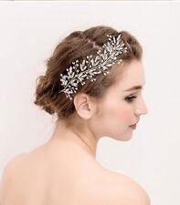 Silver Diamante Headpiece Wedding Hair Vine Crystal Bridal Dress Accessories