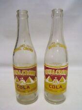 Vintage Lot of 2 Royal Crown Cola Soda Bottles 12 fluid oz Pyramid Design awh
