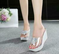 vogue Women Transparent Wedge Heel Platform Slippers Causal Sandals Shoe summer