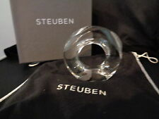 Steuben Glass Mobius Math Infinity Elegant Classic Style Signed NIB Box & Bag
