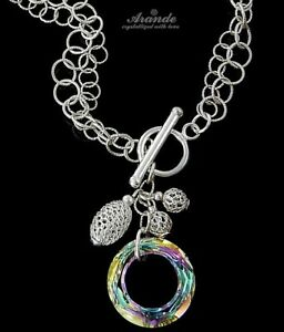 NECKLACE ORIGINAL CRYSTALS *VITRAIL RING* STERLING SILVER 925 CERTIFICATE