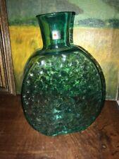 """Large BLENKO VASE  Dimpled Original Sticker 12 1/2"""" Tall Green Coke Bottle Green"""