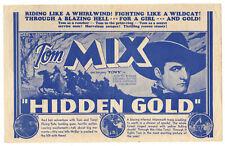HIDDEN GOLD - Vintage 1932 Western Film TOM MIX Universal Movie Herald Flyer