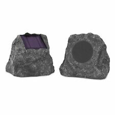 Bluetooth Outdoor Rock Speakers with A/C Adapter Solar Panel Rechargeable Gray
