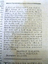 1807 newspaper w Ad - LAND & NEGR0 SLAVES for SALE in ST MARY'S COUNTY Maryland
