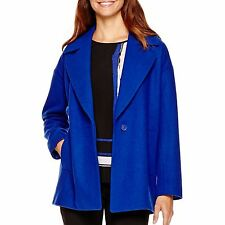 Liz Claiborne Womens Coat Wool Blend Exotic Blue V-Neck size S NEW
