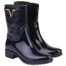 Damen Gummistiefel Stiefeletten Regenschuhe Lack Boots Stiefel 77146 Schuhe