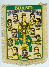 Banderín 23 cm brasil tri-campeao mundial de futbol