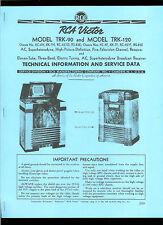 Super Rare HQ *COPY* RCA TRK-90 120 Television TV Radio Service Data Manual