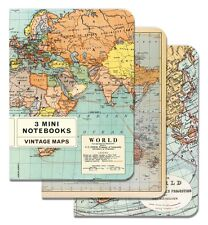 Cavallini Mini Notebooks VINTAGE WORLD MAPS 96-Page 4 X 5.5 Inch Set of 3