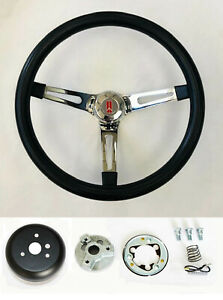 62 63 67 Oldsmobile Cutlass 442 Delta Black on Chrome Steering Wheel 15""