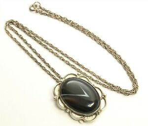 "Artisan SIGNED Sterling Silver Southwestern Agate Flower Pendant Necklace 18.5"""