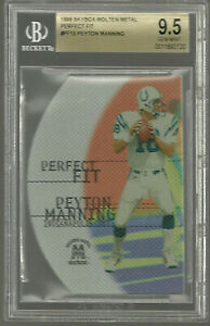 Peyton Manning 1999 Skybox Molten Metal Silver Perfect Fit Die-Cut Colts BGS 9.5