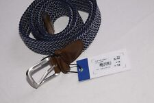 Beautiful Textile Navy Blue/White Braided Belt with Silver Metal Buckle (S343)