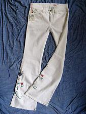 Replay señora vaqueros White denim stretch w29/l34 Xtra low waist slim fit Flare leg