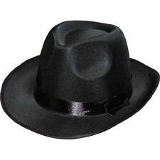 Borsalino en satin noir al capone gangster [070006n57cm] costume deguisement