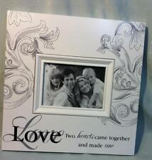 """MOTHERS DAY GIFT MODERN WOODEN """"LOVE"""" PHOTO FRAME WHITE with SWIRLS PATTERN"""