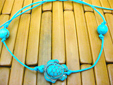 TURQUOISE TIE ON STRING TURTLE & BEADS TORTOISE YOGA BRACELET ANKLET KARMABEADS