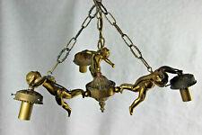 French Angel putti cherubs 3 arms chandelier pendant bronze 1960