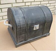 XL Holztruhe Truhe Schatztruhe *Geschenktruhe* Vintage Look / schwarz-grau 42 cm