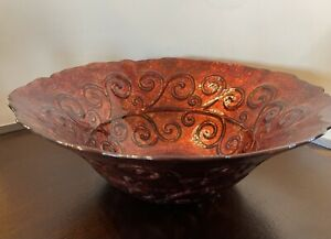 """vintage red bowl with   gold speckles 13"""" diameter Scalloped Rim Smooth Interior"""