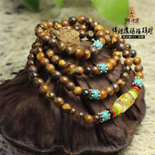 "Tibetan OM Mani 108 6mm Tiger Eye Buddhist Prayer Beads Mala Necklace 27"""