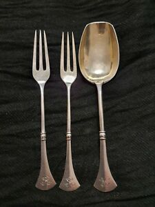 Antique Russian Harbin Solid Silver 84 - 2 forks + 1 spoon, approx 49 gm