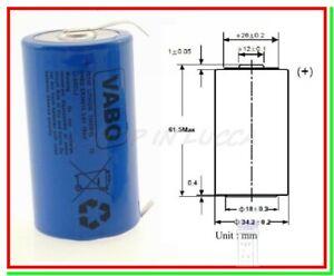 VABO ER 34615 CNR Batteria Pila 3,6V Li-SoCl2 STS Torcia D Lamelle a U Saldare