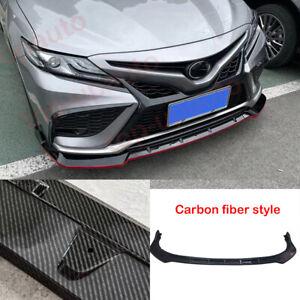 For Toyota Camry 2021 2022 XSE SE Carbon fiber Front Bumper Lip Body KIT Spoiler
