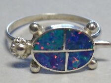 Ring By Romelia Pincion - Size 9 Zuni R- 318 Sterling Silver&Created Opal Turtle