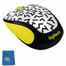 Logitech M325C Party Collection Wireless Optical Mouse Yellow Zigzag + Cleaning
