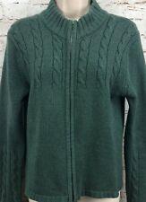 "Johnstons of Elgin  100% Cashmere Cardigan Sweater Scotland 34"" Small Green Zip"