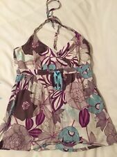 ESpirit Halterneck Sun Festival Boho Top Size 10 Brown White Purple Blue Floral