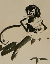 "JOSE TRUJILLO ART ACRYLIC on Paper PAINTING 11x14"" ABSTRACT NEW FIGURATIVE"