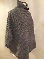 Massimo Dutti Grey Poncho Sweater Top Jumper Wool Angora Cashmere M Medium Cape
