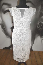 MINT VELVET WHITE LACE DRESS FITTED PENCIL SKIRT WEDDING PARTY WIGGLE COCKTAIL