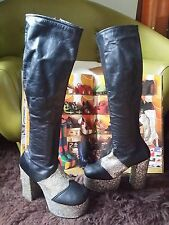 Vintage 70s Glam Rock Bowie Abba Knee Length Platform Boots.Disco.S 3.5 to 4 vgc