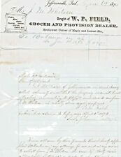 1874 Jeffersonville, Ind.  W.P. Field Grocer-letterhead and collections letter
