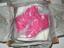 NIB ASH Thelma #312020 Fuschia Canvas Wedge Buckle/Zip Fashion Sneakers 38M